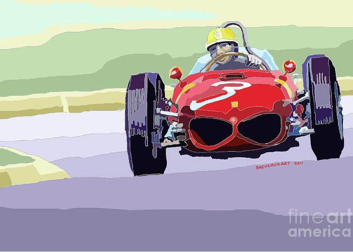 Automotive Greeting Card featuring the digital art Ferrari 156 Dino 1962 Dutch Gp by Yuriy Shevchuk