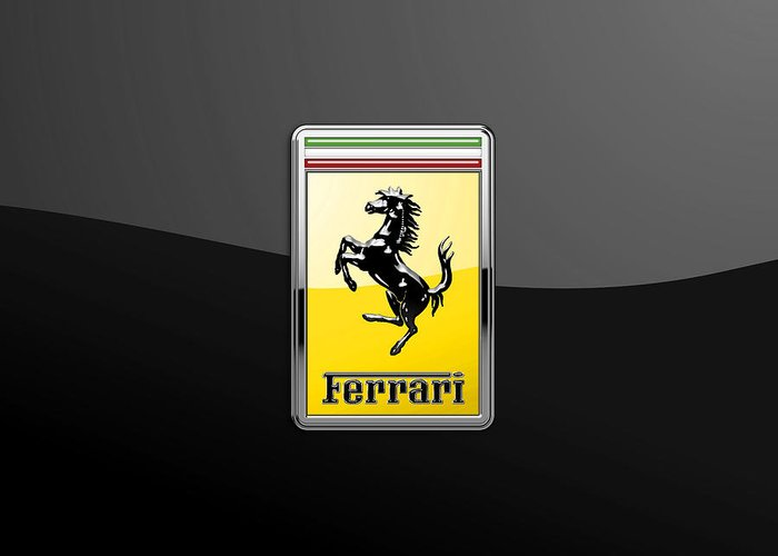 �auto Badges� Collection By Serge Averbukh Greeting Card featuring the photograph Ferrari 3D Badge- Hood Ornament on Black by Serge Averbukh