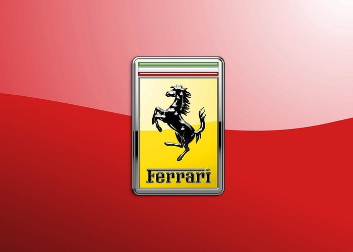 �auto Badges� Collection By Serge Averbukh Greeting Card featuring the photograph Ferrari 3d Badge-hood Ornament On Red by Serge Averbukh