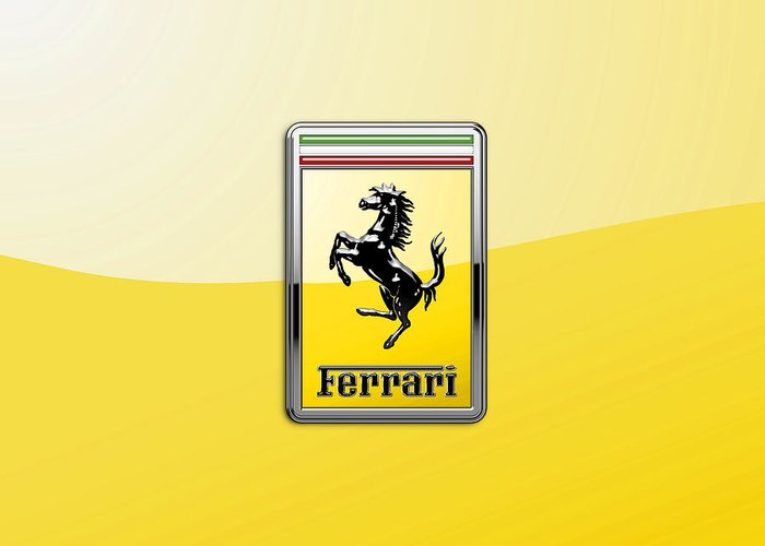 �auto Badges� Collection By Serge Averbukh Greeting Card featuring the photograph Ferrari 3D Badge- Hood Ornament on Yellow by Serge Averbukh