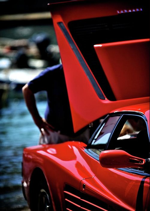Curious Greeting Card featuring the photograph Ferrari 5 by Bobby Bouchikhi