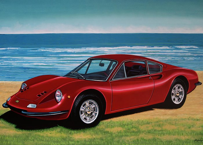 Ferrari Dino 246 Gt Greeting Card featuring the painting Ferrari Dino 246 Gt 1969 Painting by Paul Meijering