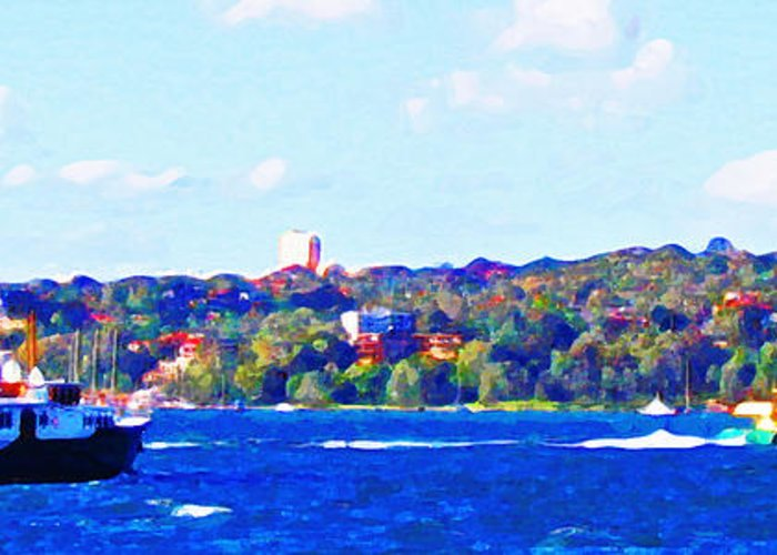 Ferry Greeting Card featuring the photograph Ferries In The Harbor by Steve C Heckman