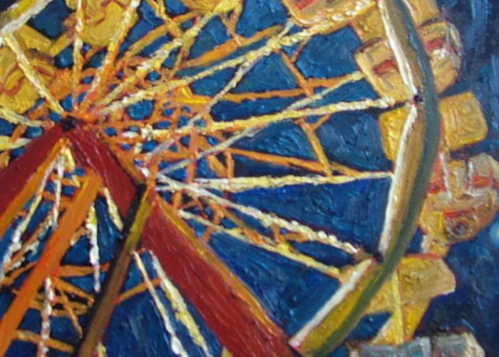 Carnival Greeting Card featuring the painting Ferris Wheel by Hillary Gross
