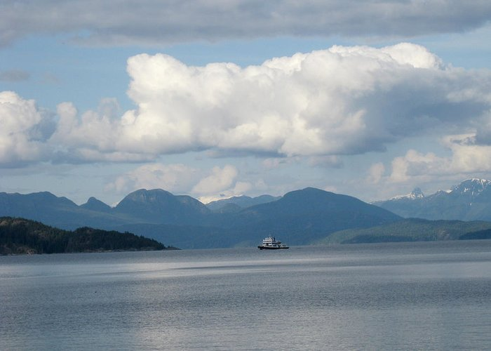 Seascape Greeting Card featuring the photograph Ferry From Cortes Island by Nanci Cook