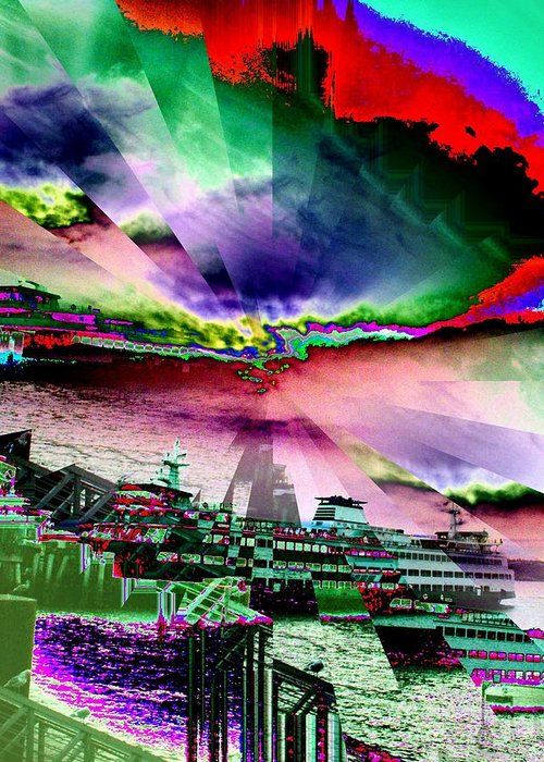 Seattle Greeting Card featuring the digital art Ferry Illusion by Tim Allen