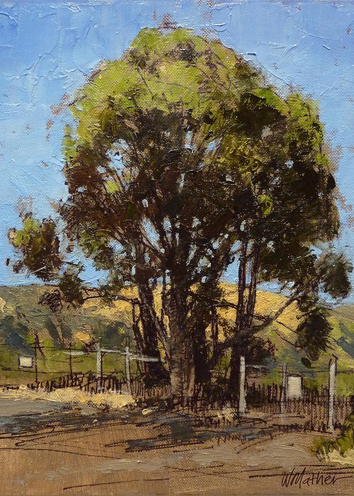Sunlit Tree Greeting Card featuring the painting Ferry Point by Bill Mather