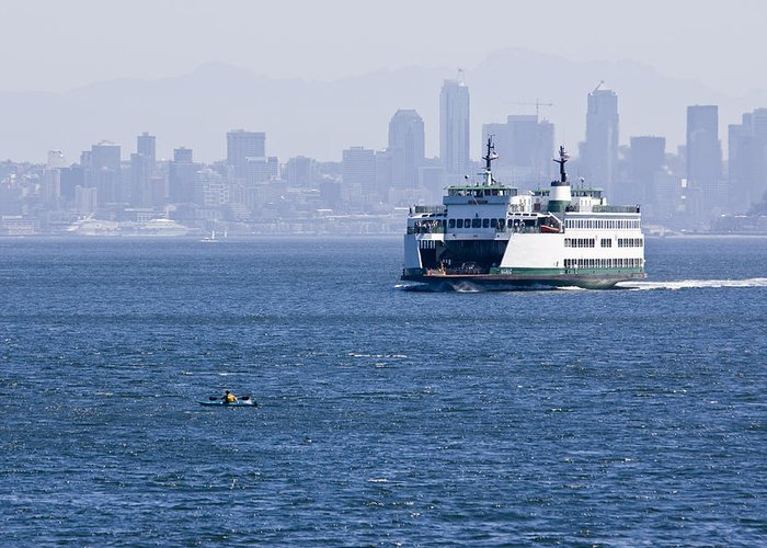 Ferry Greeting Card featuring the photograph Ferry Versus Kayaker by Chad Davis