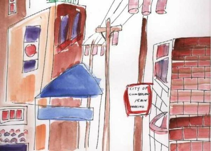 Watercolor Greeting Card featuring the painting Festival In The City 8 by B L Qualls