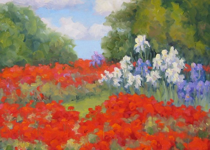 Poppies Greeting Card featuring the painting Festival Of Poppies by Bunny Oliver