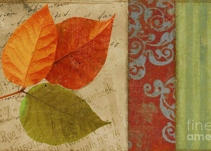 Autumn Leaf Greeting Card featuring the painting Feuilles II by Mindy Sommers