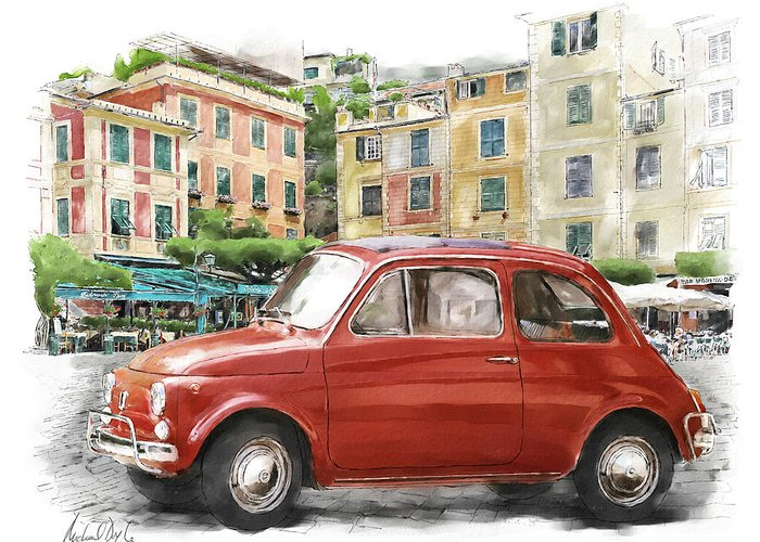 Doyle Watercolour Paintings Greeting Card featuring the painting Fiat 500 Classico by Michael Doyle
