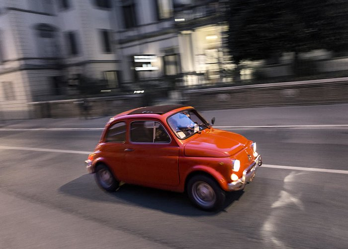 Fiat 500 Greeting Card featuring the photograph Fiat 500, Italy by David Ortega Baglietto