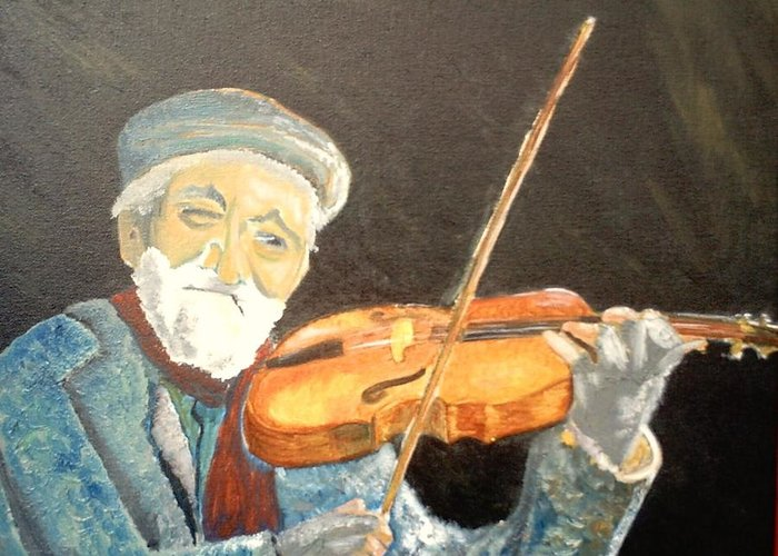 Hungry He Plays For His Supper Greeting Card featuring the painting Fiddler Blue by J Bauer