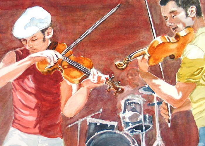 Musicians Greeting Card featuring the painting Fiddles by Karen Ilari