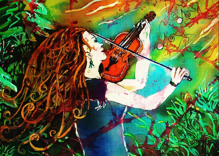 Music Greeting Card featuring the painting Fiddling Toward The Sun by Sue Duda