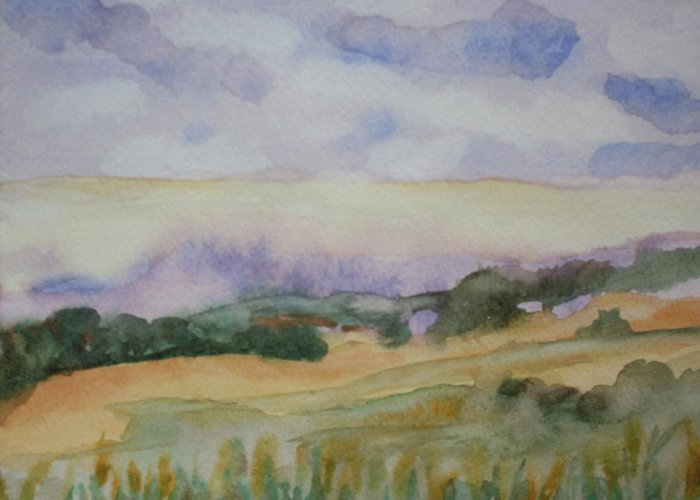 Watercolor Landscape Greeting Card featuring the painting Field And Sky 1 by Warren Thompson