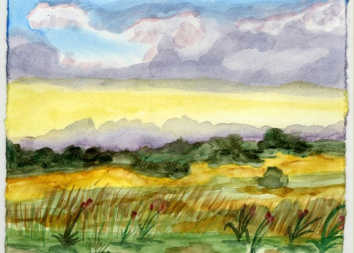 Landscape Greeting Card featuring the painting Field And Sky 2 by Warren Thompson