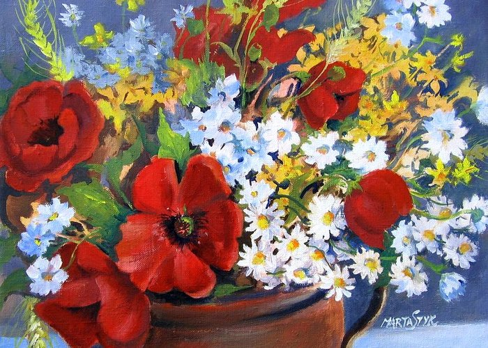 Flowers Greeting Card featuring the painting Field Bouquet by Marta Styk