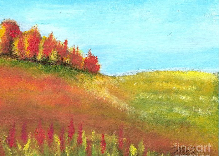 Landscape Greeting Card featuring the painting Field in Autumn by Vi Mosley