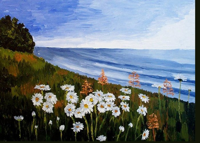 Landscape Greeting Card featuring the painting Field Of Daisies by Mats Eriksson