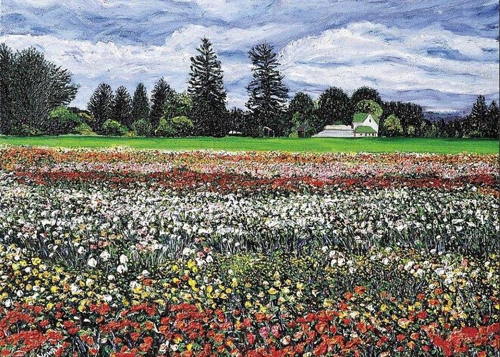 Flowers Greeting Card featuring the painting Field Of Flowers by Richard Nowak
