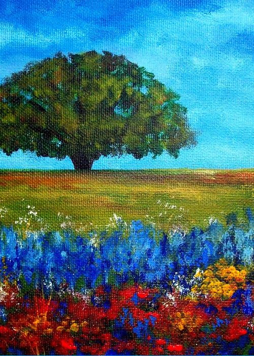 Landscape Greeting Card featuring the painting Field of Flowers by Tami Booher