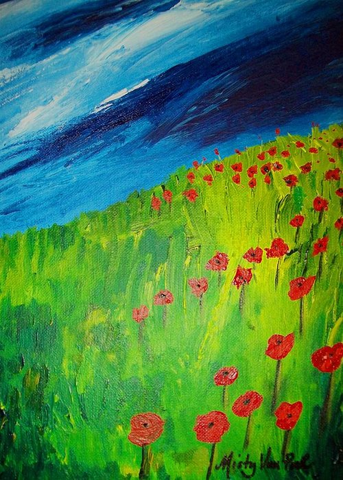 Flowers Greeting Card featuring the painting field of Poppies 2 by Misty VanPool