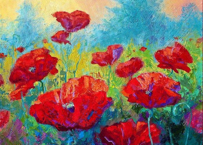 Poppies Greeting Card featuring the painting Field Of Red Poppies by Marion Rose