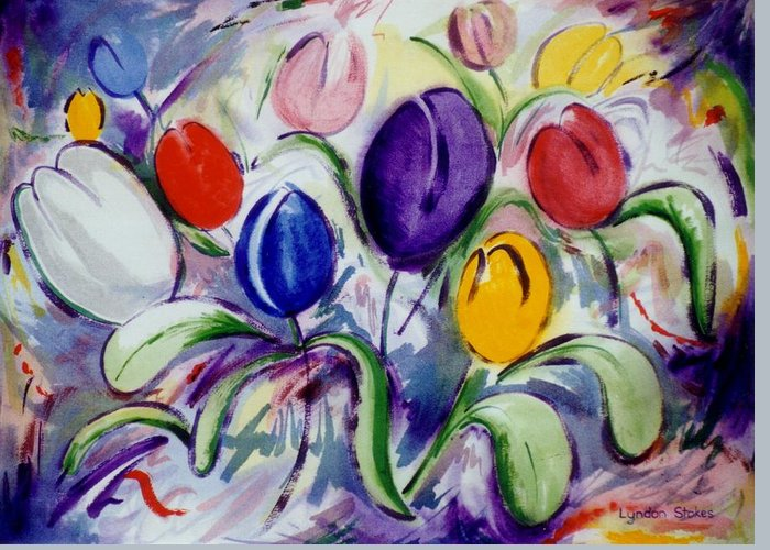 Greeting Card featuring the painting Field Of Tulips by Lyndon Stokes
