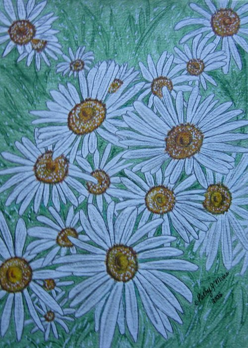 Field Greeting Card featuring the painting Field Of Wild Daisies by Kathy Marrs Chandler