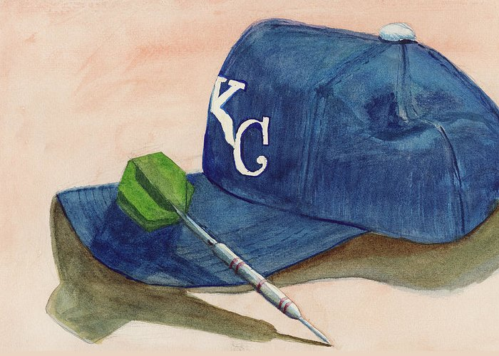 Kansas City Royal Greeting Card featuring the painting Fielder by Terry Lewey