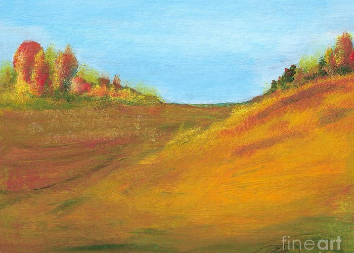Landscape Greeting Card featuring the painting Fields In Fall by Vivian Mosley