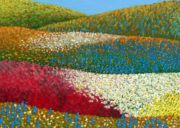 Landscape Painting Greeting Card featuring the painting Fields Of Flowers by Frederic Kohli
