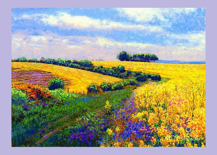 Sun Greeting Card featuring the painting Fields Of Gold by Jane Small