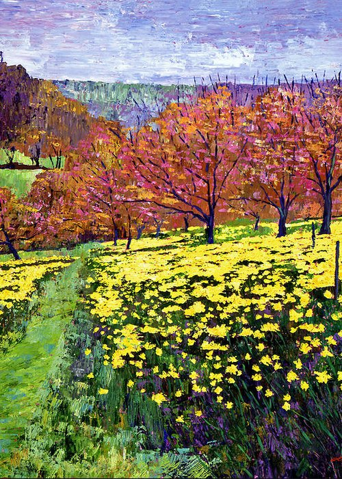 Impressionist Greeting Card featuring the painting Fields Of Golden Daffodils by David Lloyd Glover