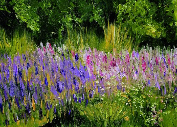 Konkol Greeting Card featuring the painting Fields of Purple by Lisa Konkol