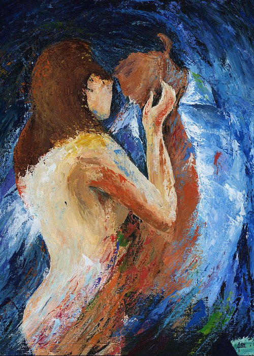 Oil Painting Art Artwork Acrylic Impressionist Impressionism Palette Knife Texture Giclee Print Reproduction Colorful Bright  Love Passion Men Women Desire Instincts Naked T-shirt Kiss Fusion Two In One Touch Blue Brown White Spanish Latino Sensual Mujer Hombre Deseo Passion Amor Desnudo Camisa Azul Blanca Negra Tocar Color Colour Colourful Heart Romance Romantic Fierce Greeting Card featuring the painting Fierce by Ash Hussein