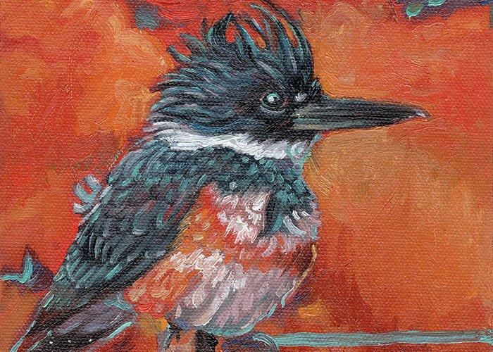 Kingfisher Greeting Card featuring the painting Fierce Blue by Tahirih Goffic