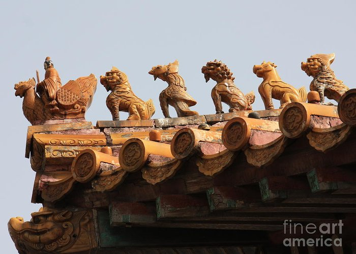Rooftop Guardians Greeting Card featuring the photograph Fierce Guardians Of The Forbidden City by Carol Groenen