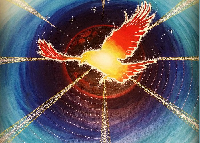 Bird Greeting Card featuring the painting Fiery Raven by Gary Michael Evans