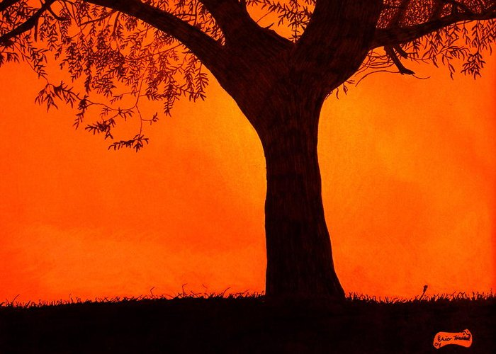 Sunset Greeting Card featuring the drawing Fiery Sky by Eric Hausel
