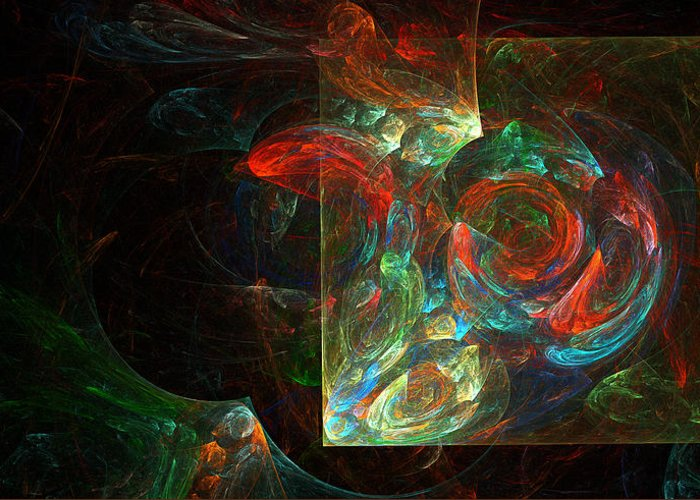 Abstract Greeting Card featuring the digital art Fiesta by Brainwave Pictures