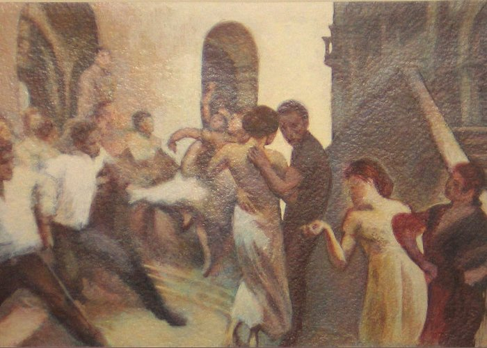 Dancing In The Street Greeting Card featuring the painting Fiesta Espanola by James LeGros