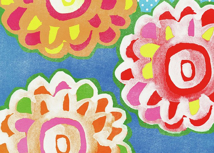 Flowers Greeting Card featuring the mixed media Fiesta Floral 3- Art by Linda Woods by Linda Woods