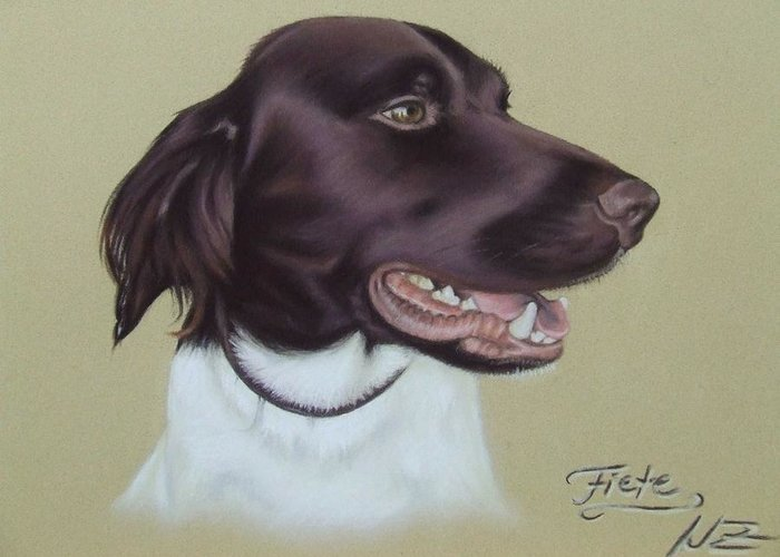 Dog Greeting Card featuring the pastel Fiete by Nicole Zeug