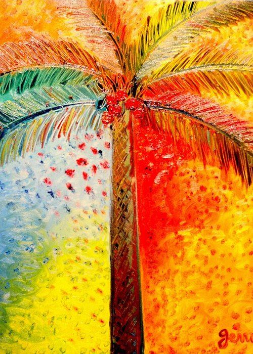 Palm Tree Art Greeting Card featuring the painting Fig Palm Sunset by Helen Gerro