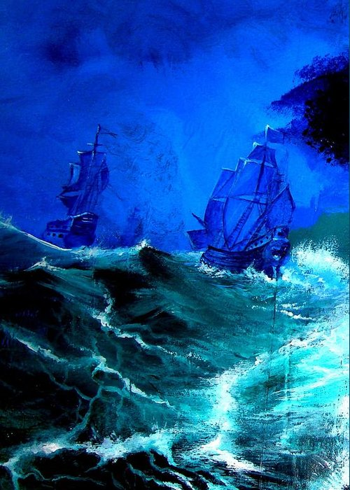 Seascape Greeting Card featuring the painting Fight For Life by Glory Fraulein Wolfe