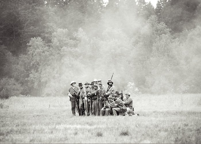 Civil War Greeting Card featuring the photograph Fighting Through The Smoke by Rainbeau Decker
