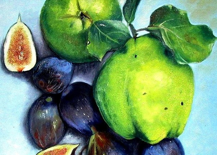 Fruit Greeting Card featuring the painting Figs And Quinces by Veronique Chabot
